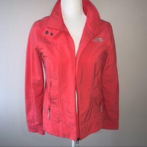 Pink north face rain coat